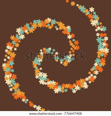 Vector Confetti Background Pattern. Element of design. Colored flowers on brown background