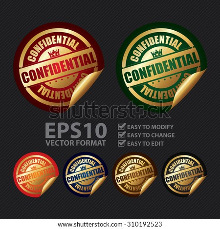 Vector : Confidential Infographics Peeling Sticker, Label, Icon, Sign or Badge