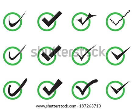 Vector confirm icons set. Yes icon. Check Mark icon. - stock vector