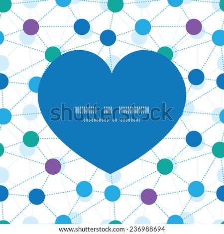 Vector connected dots heart silhouette pattern frame - stock vector