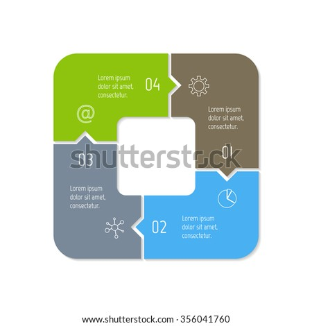 Vector connected polygonal infographic diagram. Circular chart with 4 options. Paper progress steps for tutorial. Square business concept sequence banner. EPS10 four parts puzzle workflow layout. - stock vector
