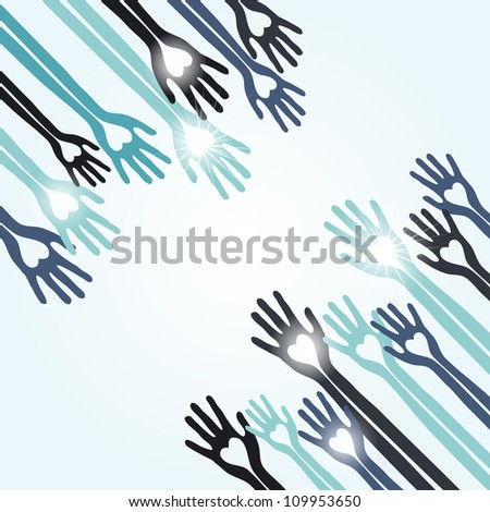 vector connecting hands concept - stock vector
