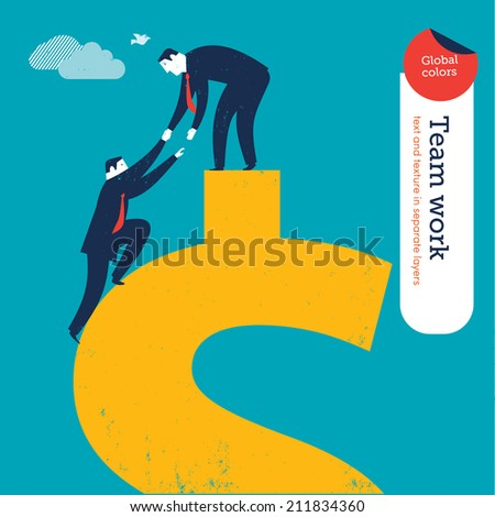 Vector Conquering the Dollar. Vector illustration Eps10 file. Global colors. Text and Texture in separate layers. - stock vector