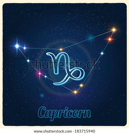 Vector constellation Capricorn with Zodiac sign - stock vector