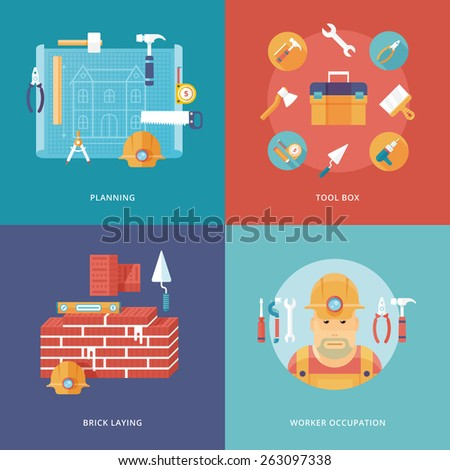 Vector construction and building icons set for web design and mobile apps. Illustration for planning and draft, toolbox equipment, brick laying job, worker occupation. - stock vector