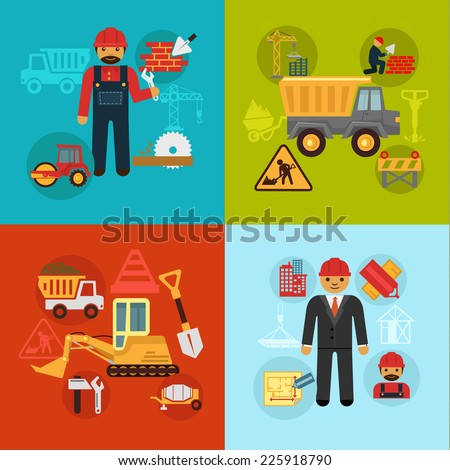 Vector construction engineering and management concept flat business icons set of professional development building service. Modern style creative graphic design illustrations, abstract signs, symbols - stock vector