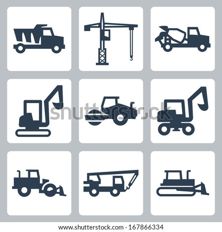 Vector construction equipment icons set - stock vector