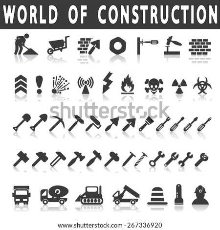 vector construction icons on white background with shadow - stock vector