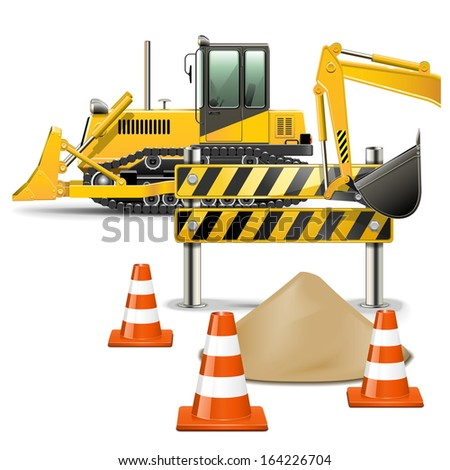 Vector Construction Machines with Barrier - stock vector