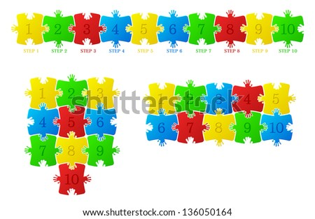 Vector construction of the puzzle on a white background - stock vector
