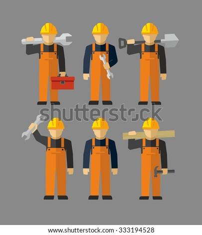 Vector Construction Professional Workers Figures  - stock vector