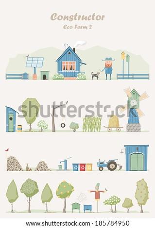 Vector constructor - eco farm (green house) - stock vector