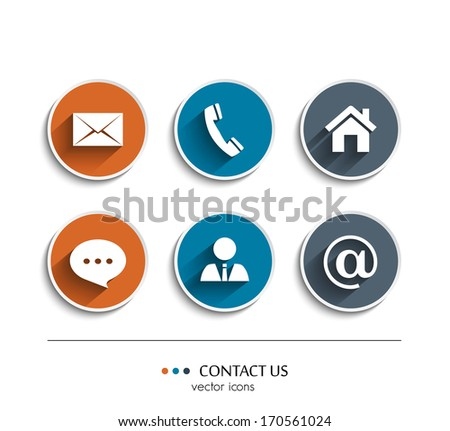 Vector contact and communication icons. - stock vector