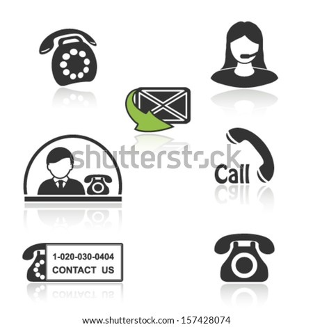 Vector contact, call icons - phone symbols with shadow - stock vector
