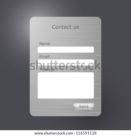 """Vector contacts form with with brushed metal texture. """"Contact us"""" web form - stock vector"""