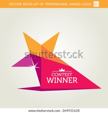 Vector Contest Winner Award Design Drawing In Flat Style - stock vector