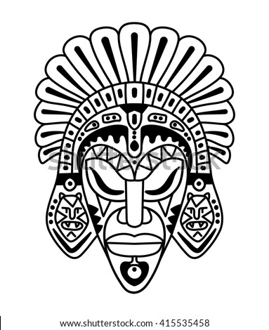 vector, contour, black and white illustration, african mask, totem, ethnic style, art, tattoo - stock vector