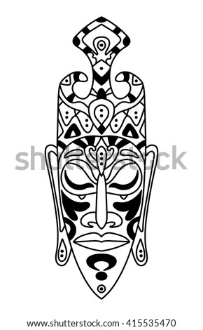 vector, contour, black and white illustration, african mask, totem, ethnic style, god, tattoo, art, henna, design element, abstract - stock vector