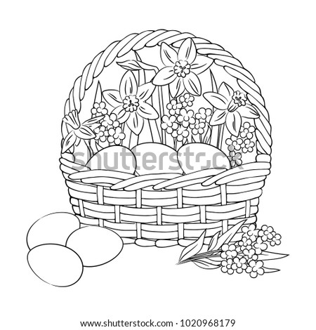 Vector Contour Easter Eggs In Basket With Flowers Daffodil Narcissus Forget Me Not Decor