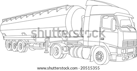 vector - contour truck-tanker  isolated on white background
