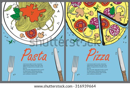 Vector cooking banner template with pizza and pasta.Design a menu.Menu template for restaurant and cafe.Italian cuisine hand drawn objects.Vector food illustration for kitchen and cafe - stock vector