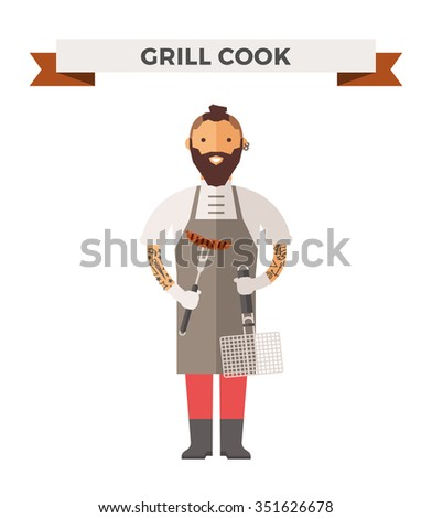 Vector cooking barbeque chef vector illustration. Cartoon barbeque  cook chef icon. Restaurant grill chefs hat and cook uniform. Vector barbeque uniform, meat chefs, chefs isolated, grill food icon - stock vector