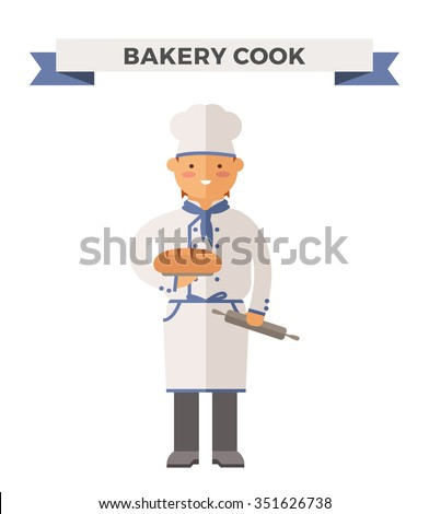 Vector cooking bread miller chef vector illustration. Cartoon miller cook chef icon. Restaurant cook chefs hat and cook uniform. Vector miller uniform, cooks chefs, chefs isolated. Professions miller - stock vector