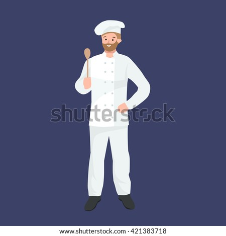 Vector cooking chefs vector illustration. Professions job man in uniform, - stock vector