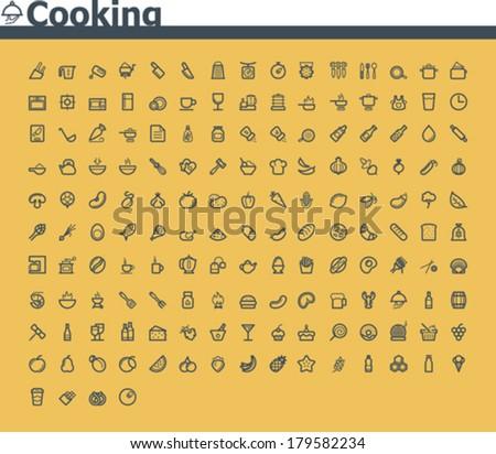 Vector cooking icon set - stock vector