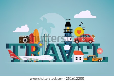 Vector cool detailed flat horizontal web banner or site page header image template on best summer travel, touristic destinations, water activities with surf boards, lighthouse, air plane, retro camera - stock vector