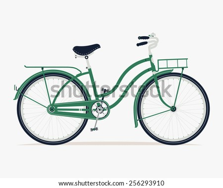 Vector cool detailed illustration on retro vintage green bicycle with front and rear racks, side view, isolated - stock vector