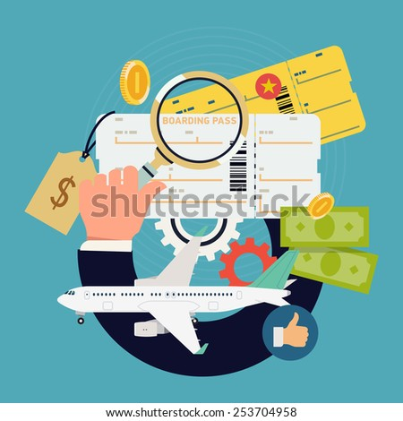 Vector cool flat concept design on airfare and boarding pass tickets search and price comparison | Flights and airfare deals searching web banner template with air plane, coins, hand with magnifier - stock vector