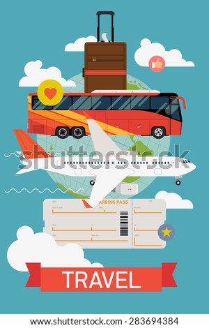 Vector cool flat design web banner on Travel with jet airliner flying, coach bus, hand luggage, boarding pass ticket and globe with clouds | Travel by plane and bus printable poster - stock vector