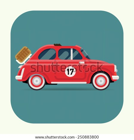 Vector cool flat design web icon on recreational transport vehicle retro small open top red city car with picnic basket installed  - stock vector