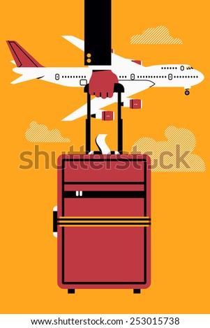 Vector cool flat web banner or printable template on business trip with jumbo jet airliner flying, abstract businessman's hand holding cabin size luggage, and clouds | Business class airline travel - stock vector