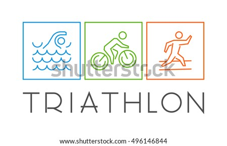 Vector cool logo for triathlon. Swimming, cycling and running symbol.