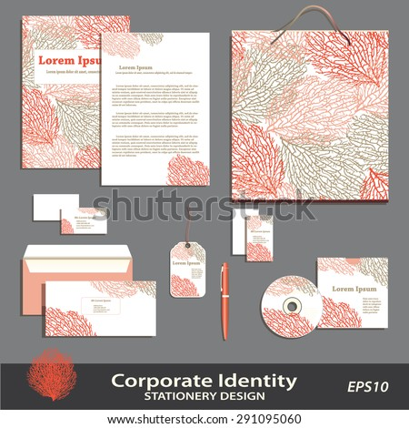 Vector Coral Pattern stationery design template. Brand & corporate identity business set.. Business Cards, Envelope, Folder, CD, Bag, Pen, Badge. Coral icon. Editable, layered. Can print separately. - stock vector
