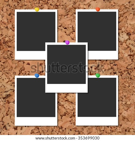 Vector cork board with five blank instant photo cards and color pins - stock vector