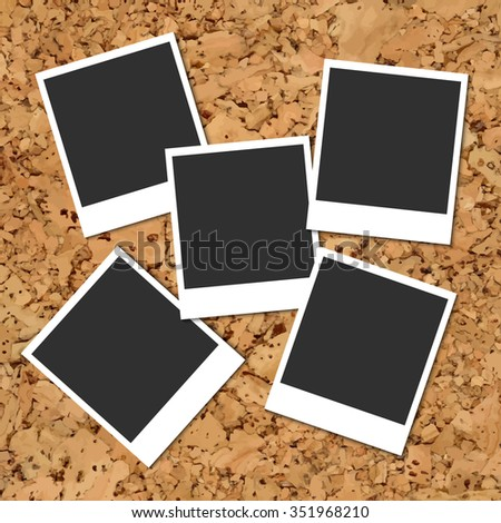 Vector cork board with five scattered blank instant photo cards - stock vector
