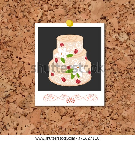 Vector corkboard with instant photo card and wedding cake - stock vector