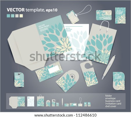 Vector corporate design for business artworks: folder, business card, invitation card, packege, badge, blank, pen, dvd cover, envelope on floral background . - stock vector