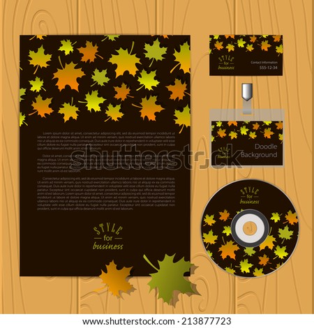Vector corporate identity template with autumn leafs. Business card, disc, document, badge. Eps10