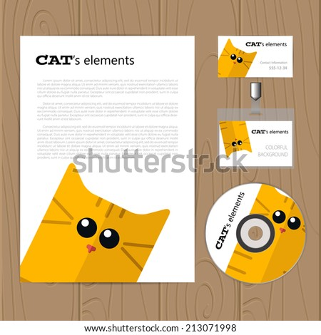 Vector corporate identity template with cat. Business card, disc, document, badge. Eps10 - stock vector