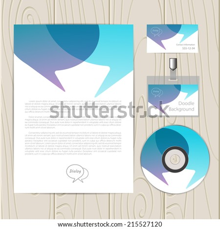 Vector corporate identity template with dialog elements. Business card, disc, document, badge. Eps10 - stock vector
