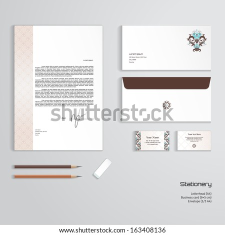 Vector corporate identity templates beautiful floral stock vector vector corporate identity templates beautiful floral pattern in vintage style simple delicate ornament reheart Choice Image