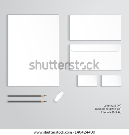 Vector corporate identity templates.  Letterhead, envelope, business card, pencils, eraser. - stock vector