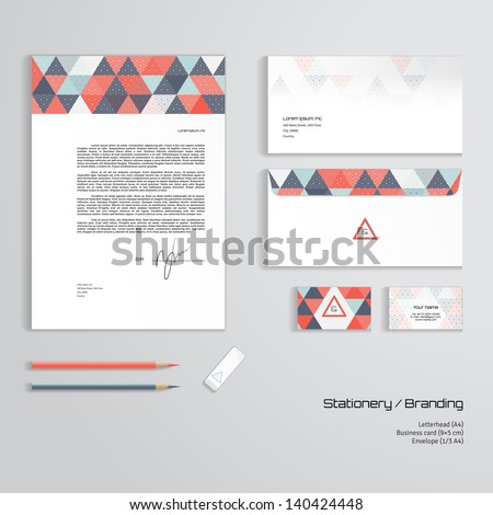 Vector corporate identity templates. Multicolored geometric pattern and grid.  Letterhead, envelope, business card, pencils, eraser. Easy editing of all parts and colors. Dimensions are given. - stock vector