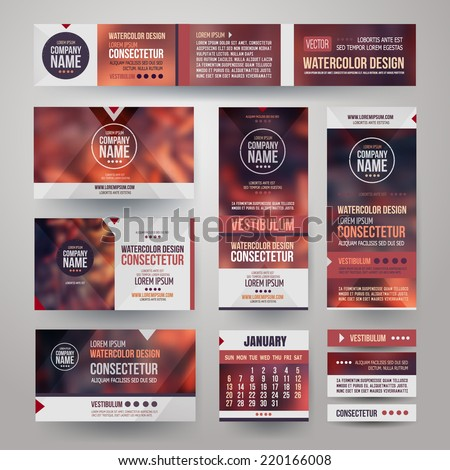 Vector Corporate identity templates with blurred abstract background - stock vector