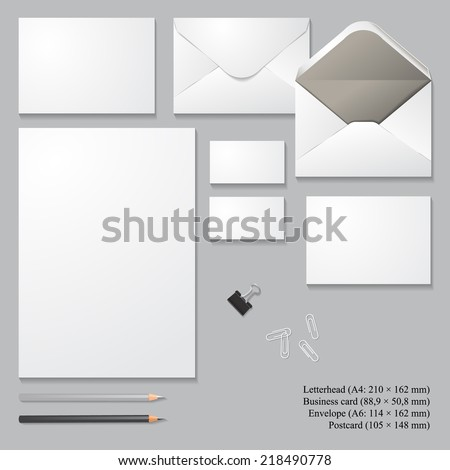 Vector corporate identity templates with shadows, isolated on gray background. Letterhead, envelope, business card, postcard, pencils, clip, paperclips. Templates for business design. - stock vector