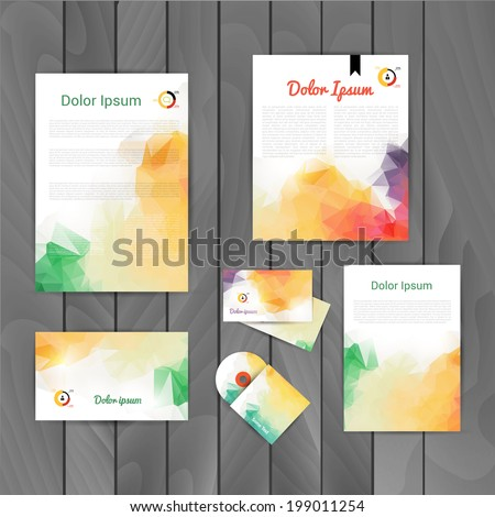 Vector corporate identity, triangular background. Abstract backdrop.Geometric banners design template. Corporate identity business set. Identity Design Template. Brand, Card, envelope. CD cover - stock vector